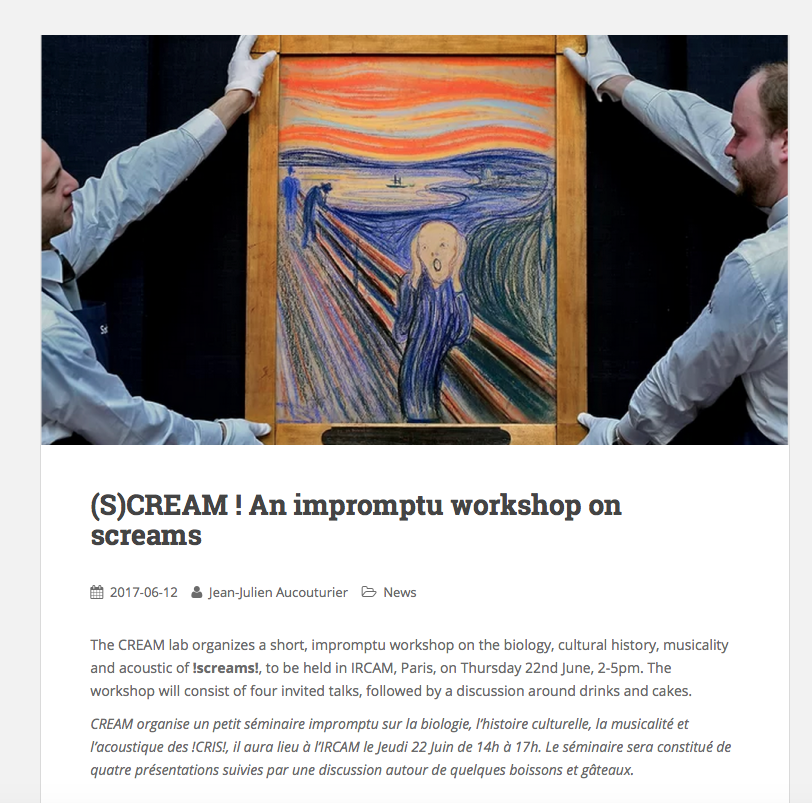 (S)CREAM Workshop - Salle Stravinsky